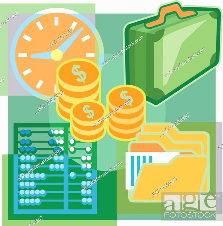 Stock Photo: A montage of money, folders, a clock, a brief case, and an abacus.