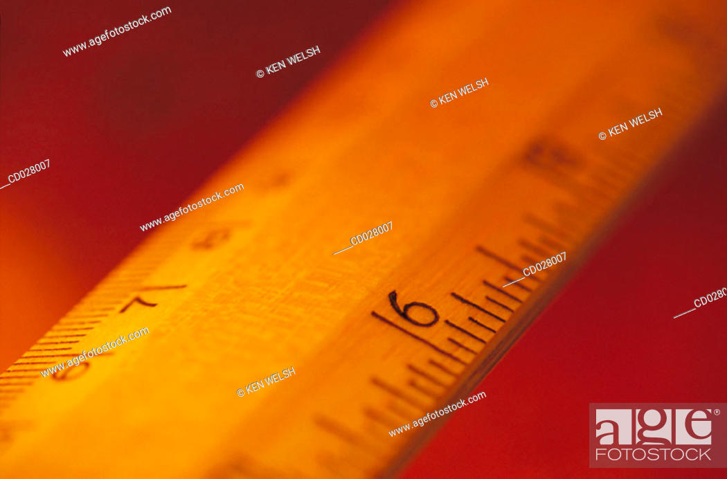 Stock Photo: Ruler showing centimeters and inches.