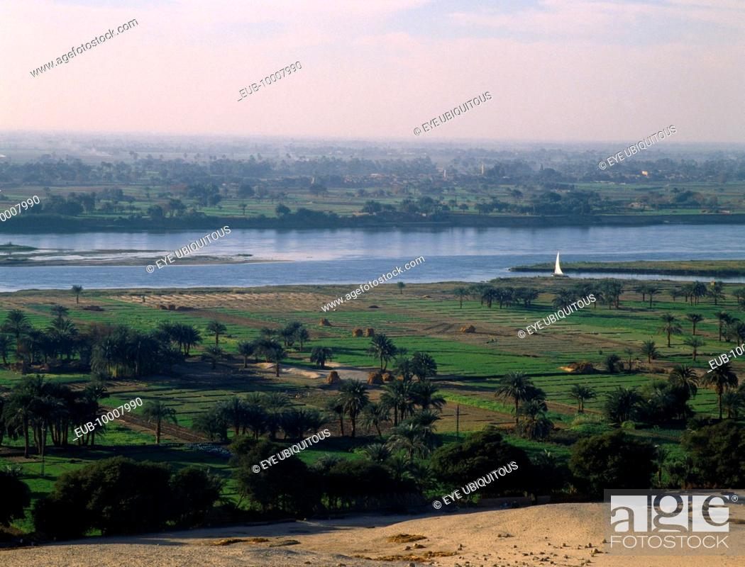 Stock Photo: View over agricultural land in the flood plain of the River Nile.