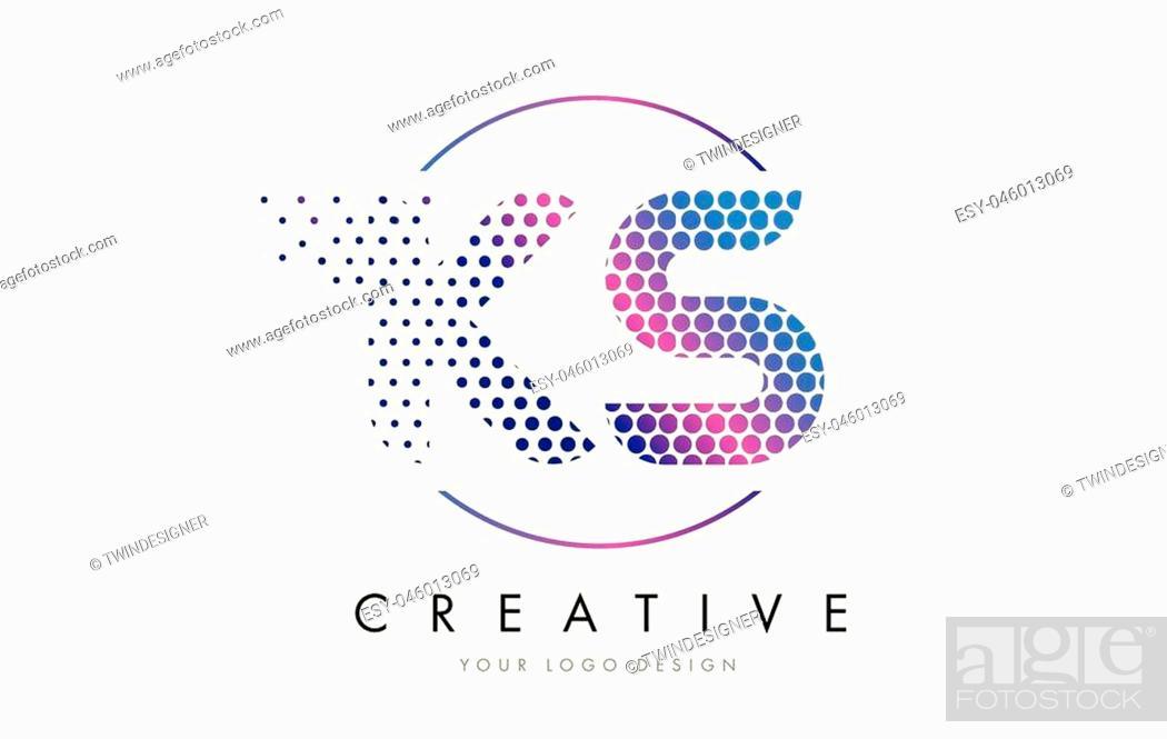 Vector: KS K S Pink Magenta Dotted Bubble Letter Logo Design. Dots Lettering Vector Illustration.