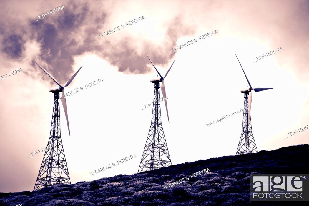 Stock Photo: Old wind turbines in Andalusia, Spain.