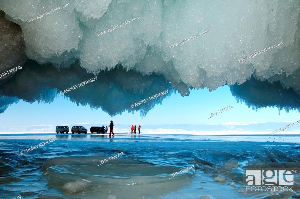Stock Photo: Cars and people on frozen Lake Baikal, island Olkhon, Lake Baikal, Siberia, Russia, Eurasia.