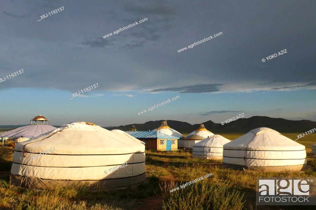 Stock Photo: Traditional house, ger, Mongolia.