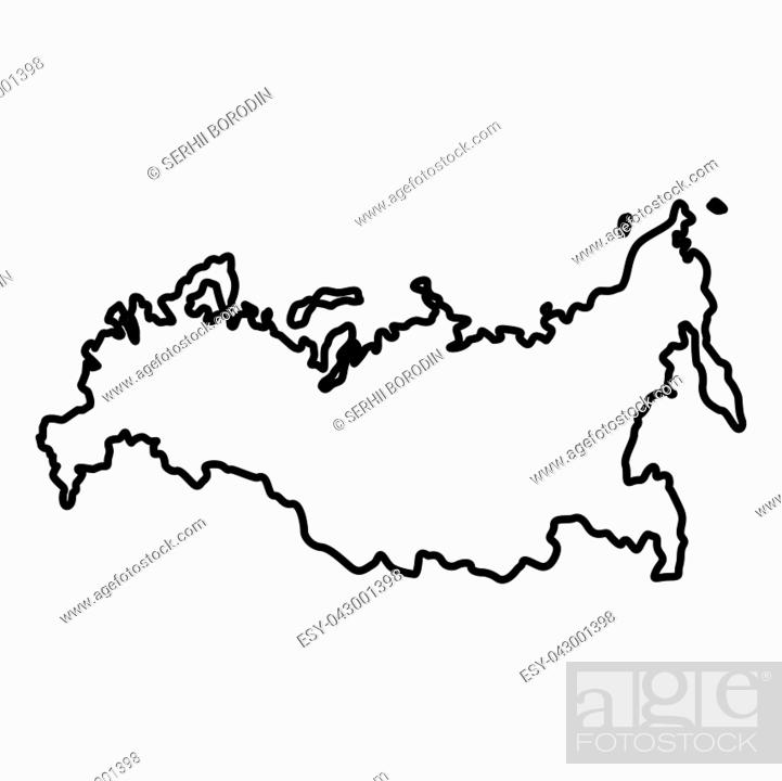 Vector: Map of Russian icon black color vector illustration flat style outline.