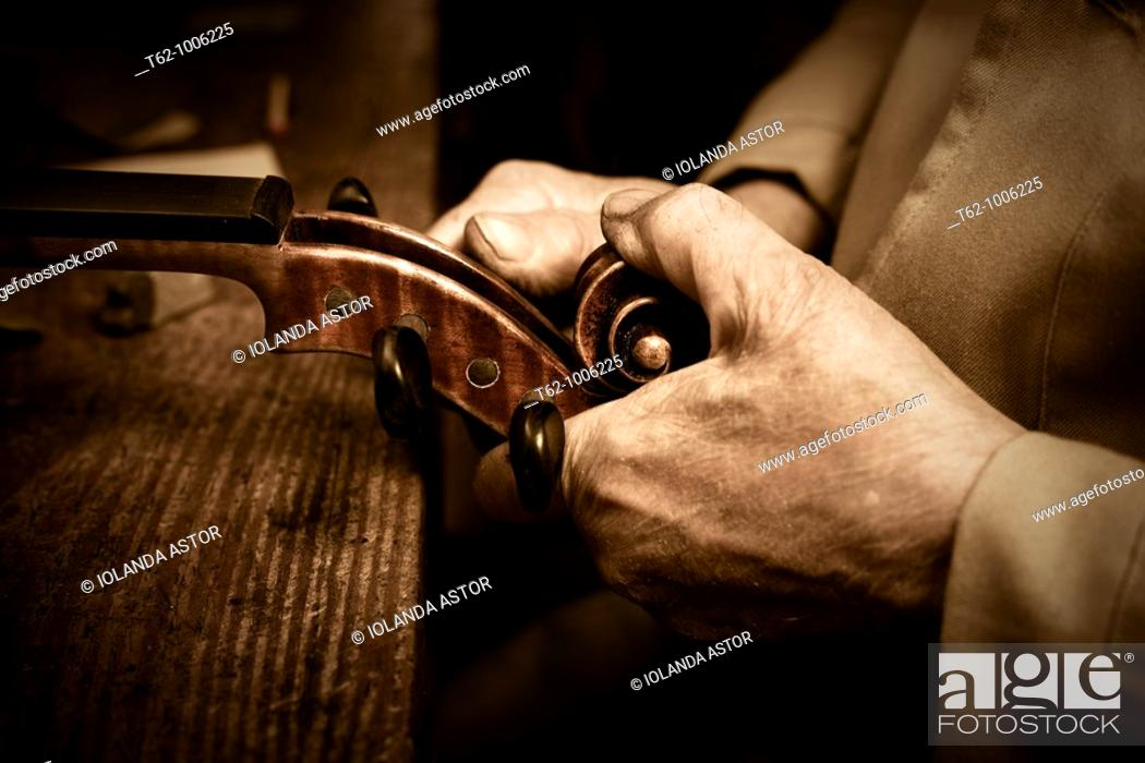 Stock Photo: Luthier workshop  Manufacturing stringed musical instruments  Handicraft.
