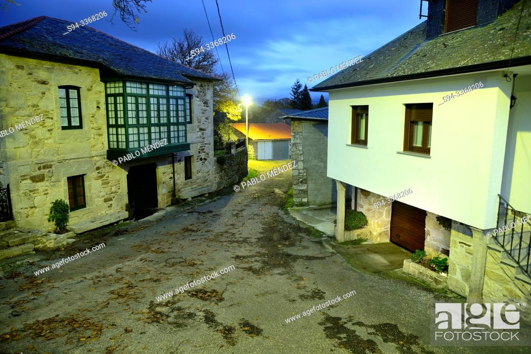 Stock Photo: Small square and street in Mouruas, San Xoan de Rio, Orense, Spain.