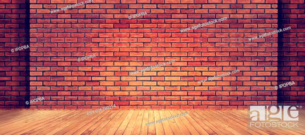 Stock Photo: Red brick wall texture and wood floor background.