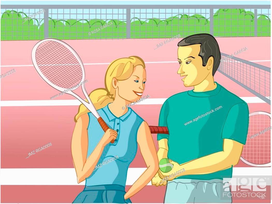 Stock Photo: A couple playing tennis at a court.