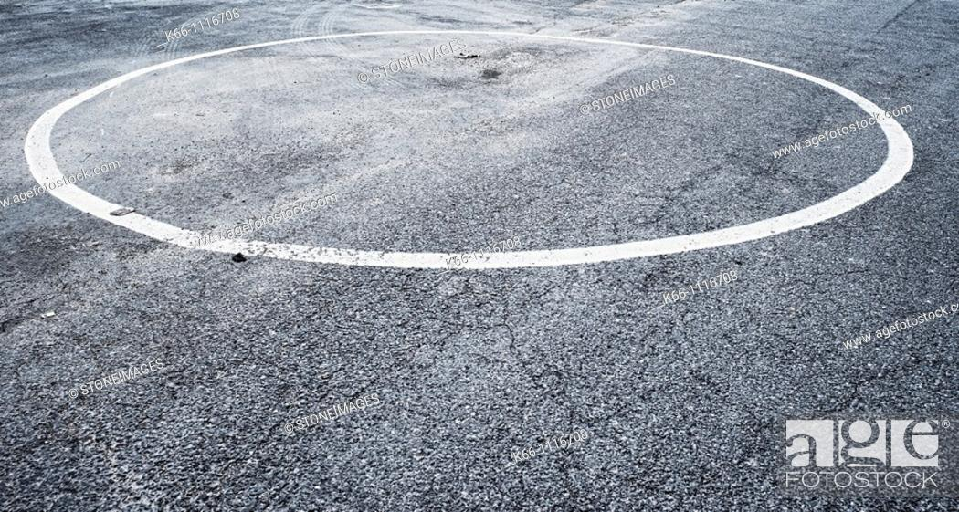 Stock Photo: Empty circle painted on road.