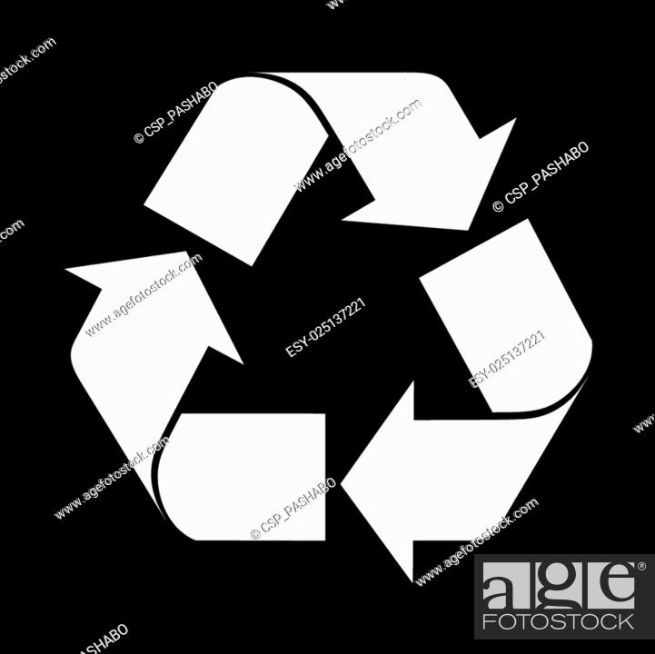 Stock Vector: Reuse symbol, isolated on black.