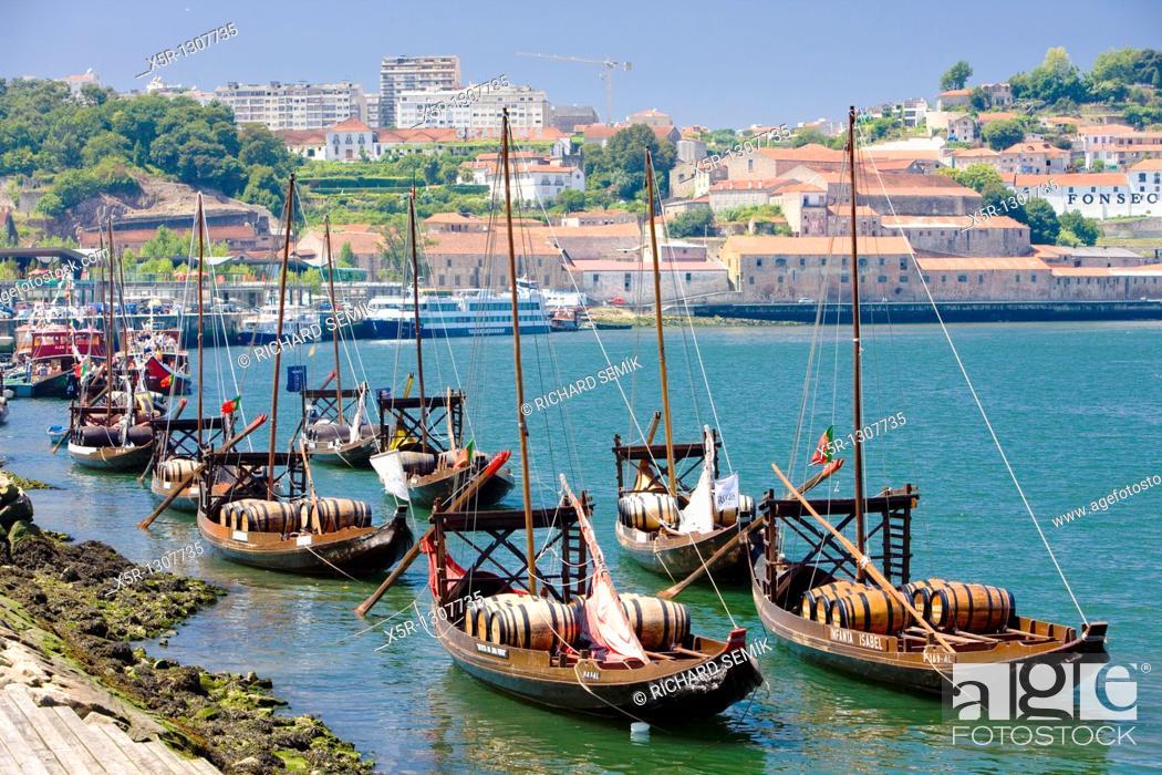 Stock Photo: typical boats rabelos, Porto, Douro Province, Portugal.