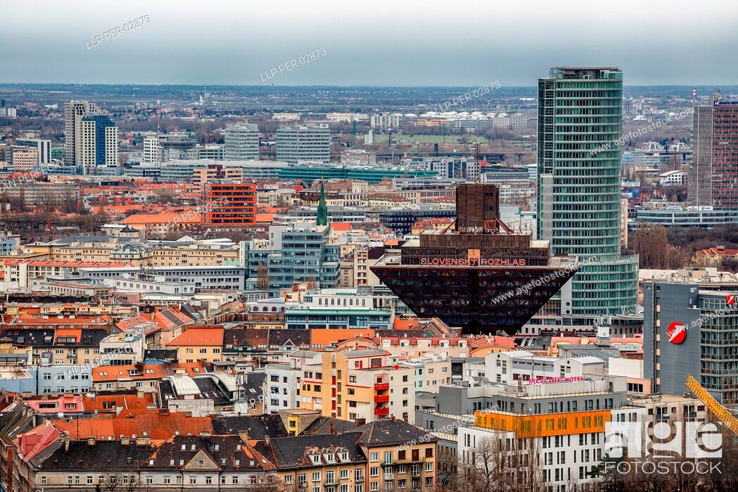 Stock Photo: Bratislava, Slovak Radio and the National Bank.