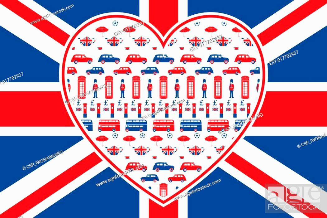 Stock Vector: British flag - Heart - London icons.