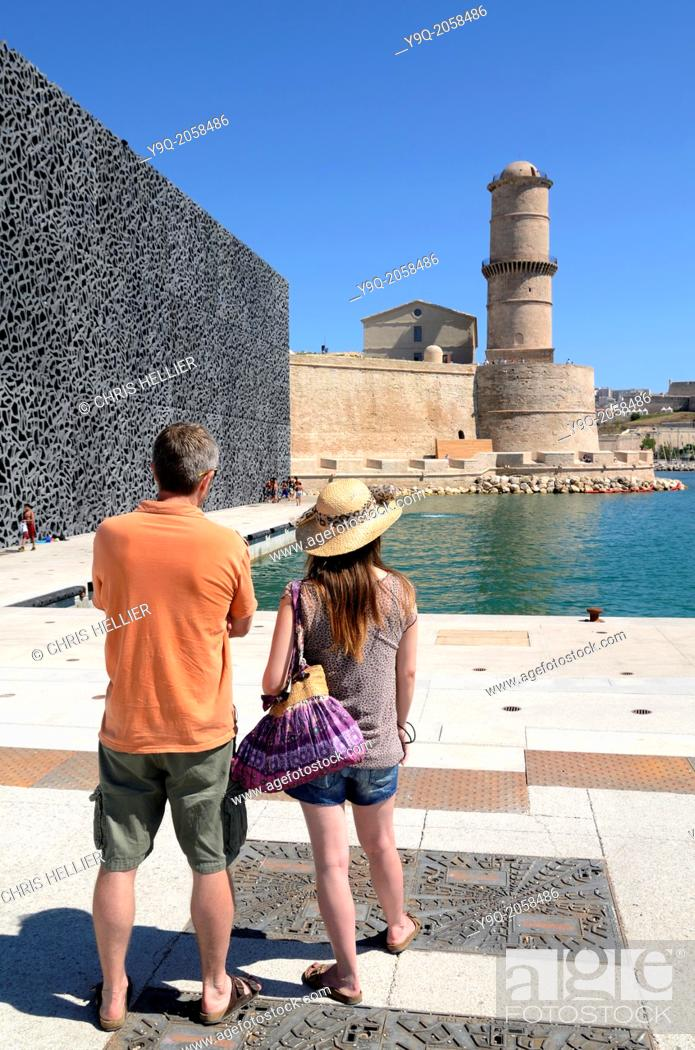 Stock Photo: Tourists Outside MUCEM Museum and Fort Saint Jean Marseille France.