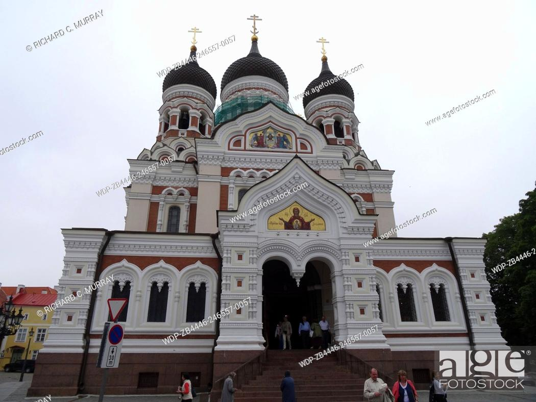 Stock Photo: Alexander Nevsky Cathedral (1894) Russian Orthodox across Palace Square Old Town 3 Onion Domes-Tallinn, Estonia.