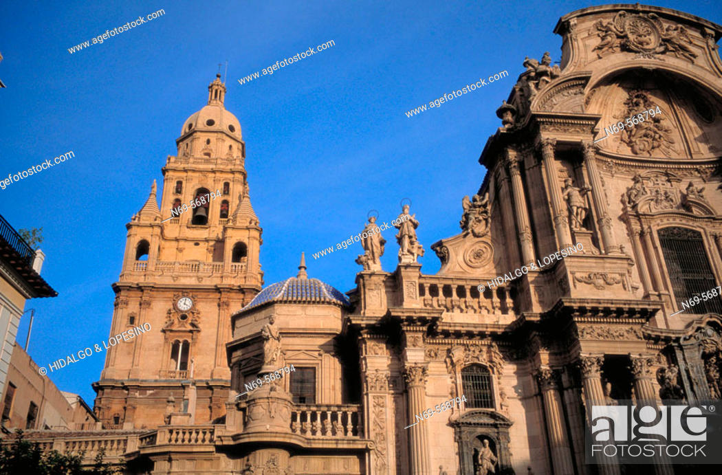 Stock Photo: Cathedral. XVth century. Cardenal Belluga square. Murcia. Spain.