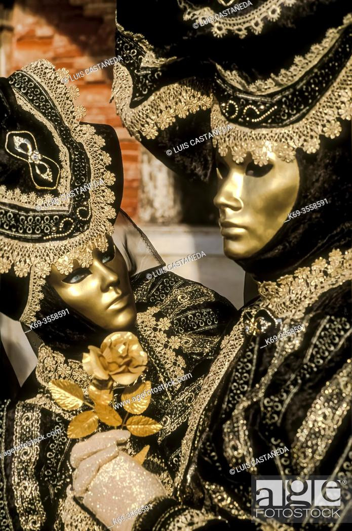Stock Photo: Masked Costumes. The Carnival of Venice. . Venice. Italy.