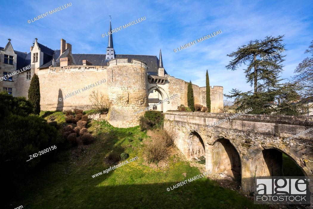 Stock Photo: Castle of Montreuil Bellay, Maine et Loire Department, Pays de la Loire Region, Loire Valley, France, Europe.