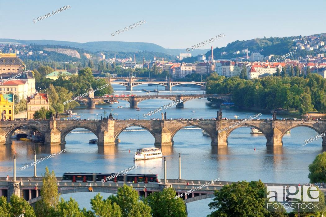 Stock Photo: Czech Republic, Prague - Bridges over Vltava River and Boat Traffic.
