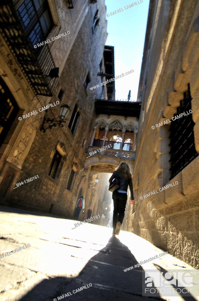 Stock Photo: Bisbe Irurita street (Carrer del Bisbe), Gothic quarter, Barcelona, Catalonia, Spain.