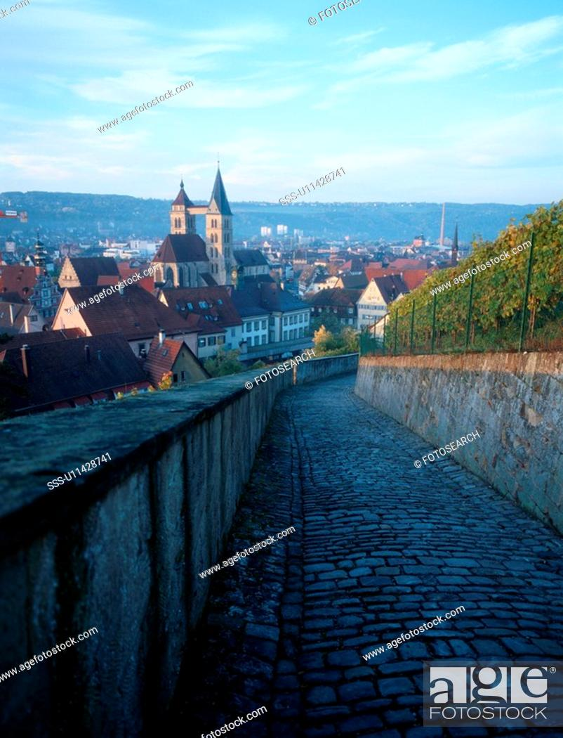 Stock Photo: Cobbled Path Above Town.