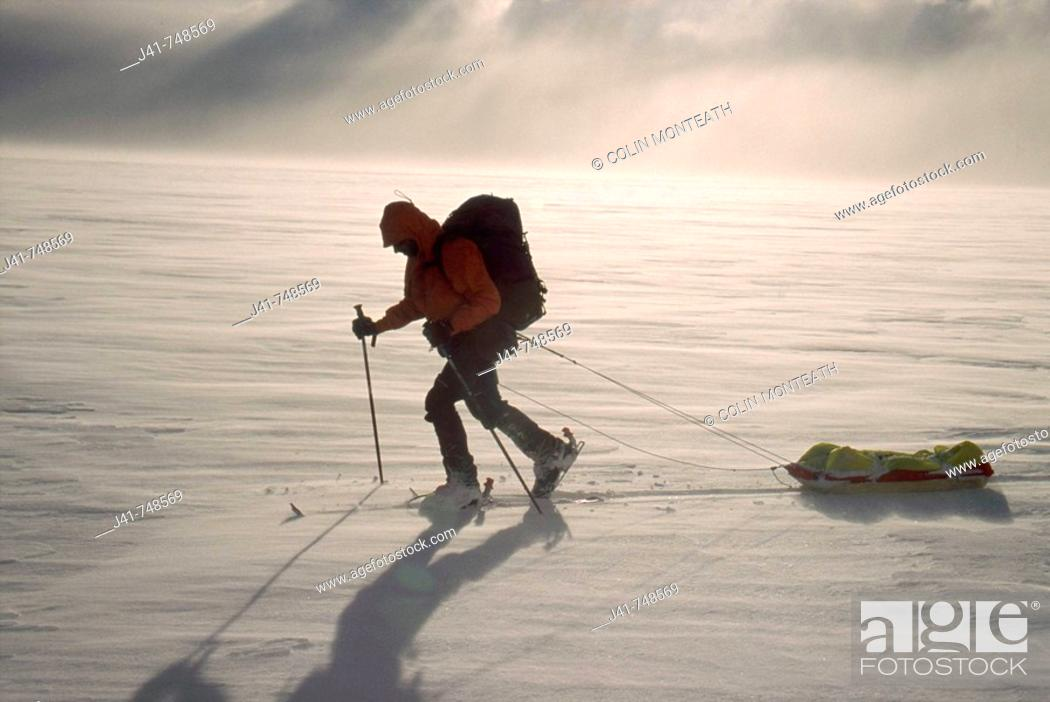 Stock Photo: Skier pulling sled South Patagonian icecap Los Glaciares National Park Patagonia.