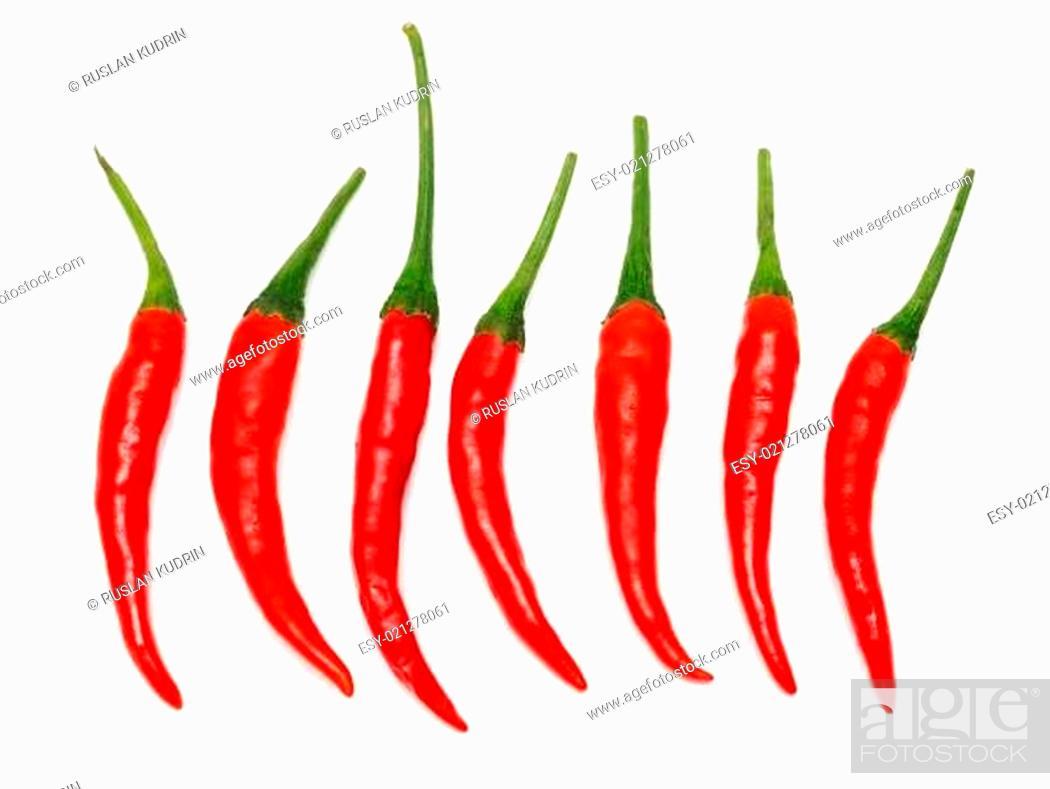 Stock Photo: Seven Red hot chili pepper.