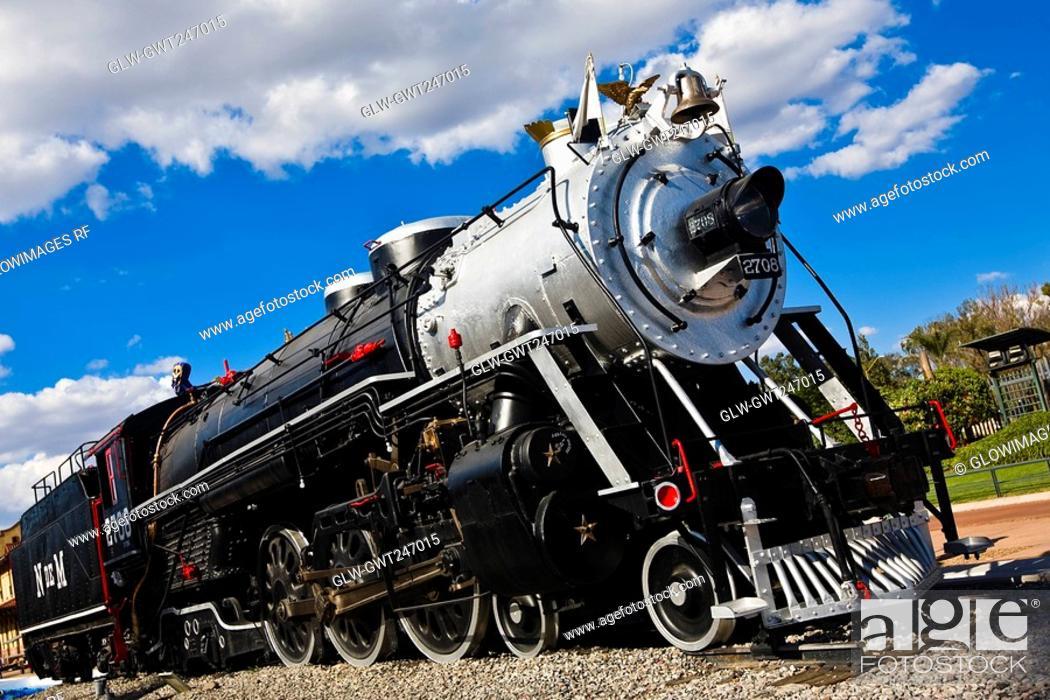 Stock Photo: Low angle view of a locomotive, Three Centuries Memorial Park, Aguascalientes, Mexico.
