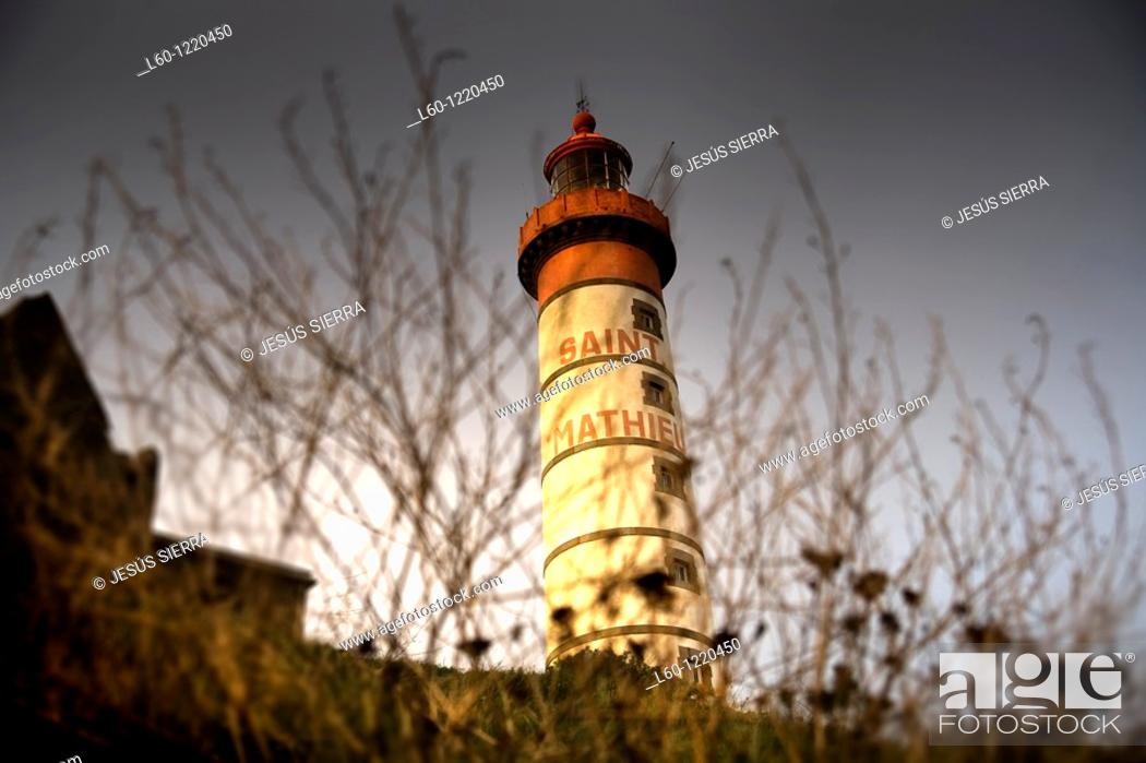 Stock Photo: Lighthouse  Pointe Sant-Mathieu  Brittany  France.