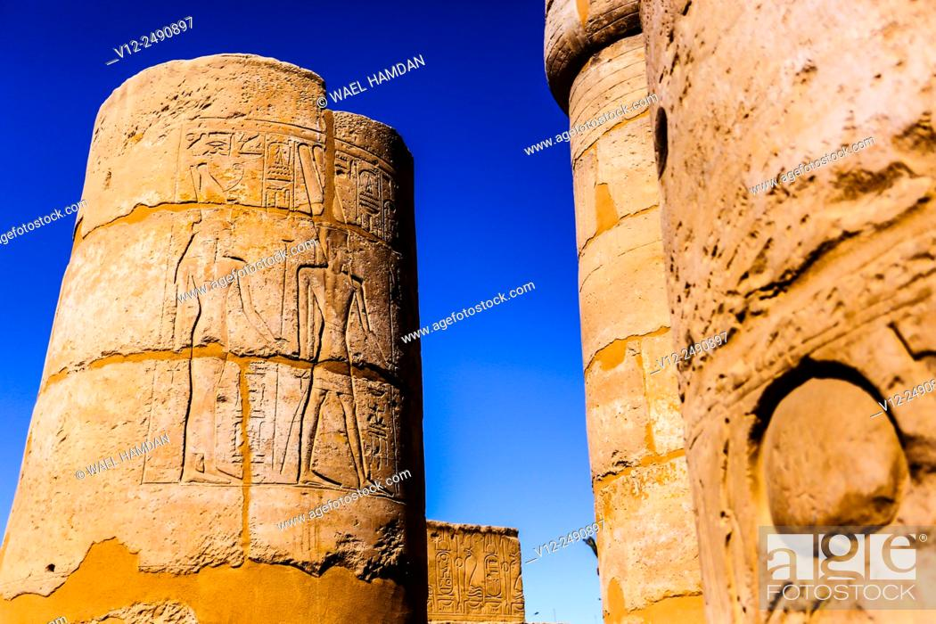 Stock Photo: Columns at Temple of Luxor, Luxor city, Egypt.