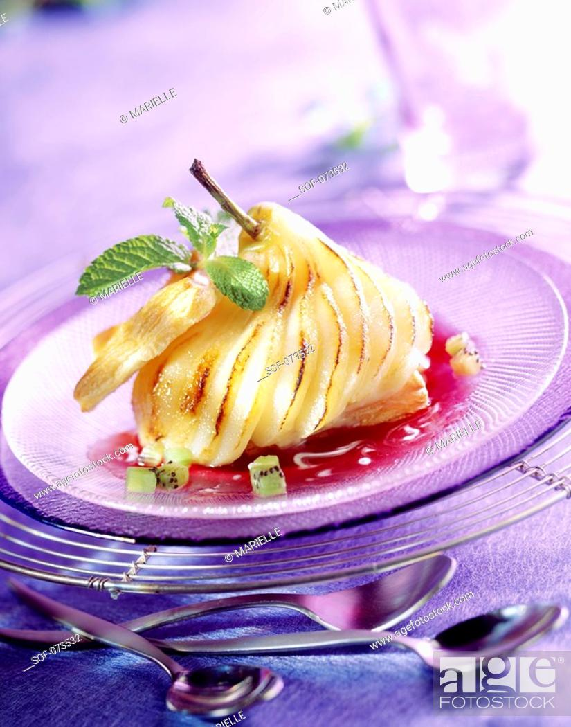 Stock Photo: sliced roast pear.