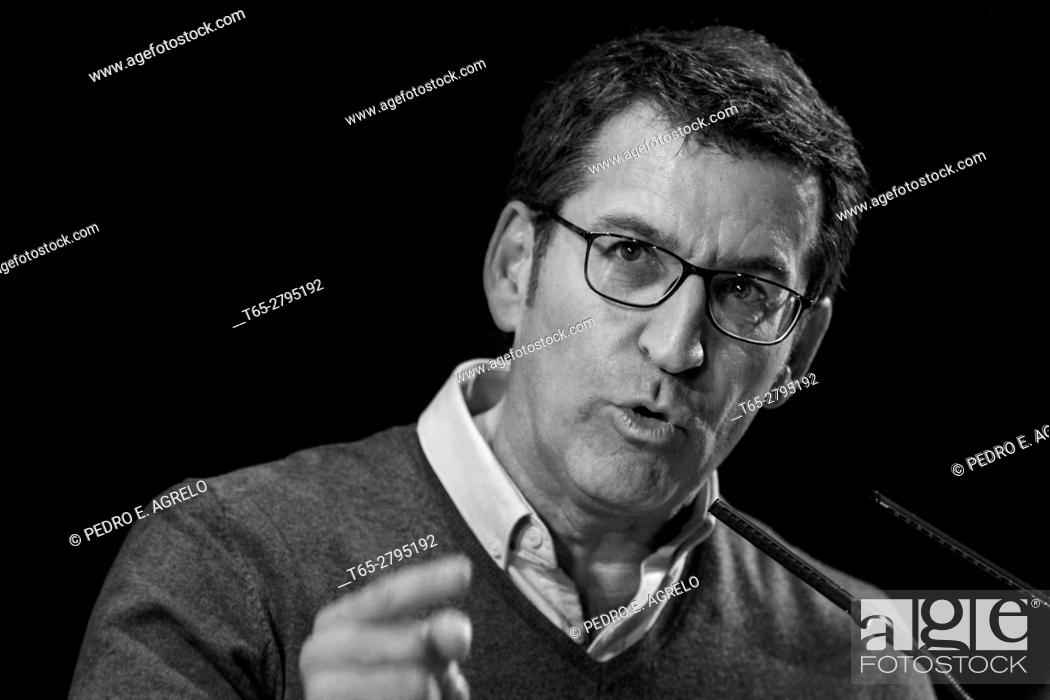 Stock Photo: Feijoo, President of the Galician regional government to political intervention During in Lugo.