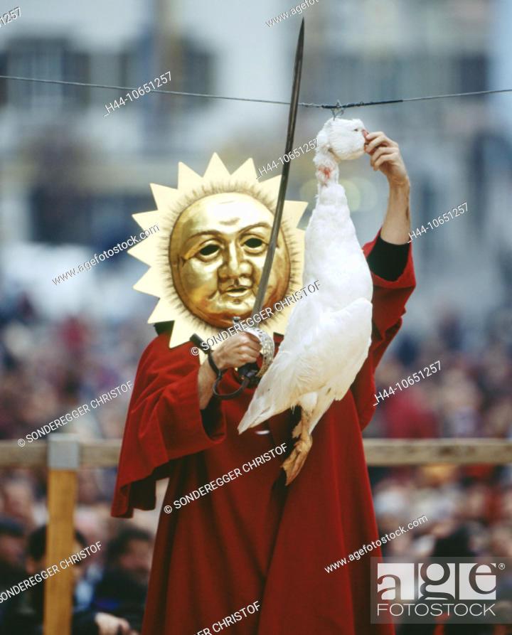 Stock Photo: 10651257, custom, tradition, party, fête, folklore, goose, Gansabhauet, canton Lucerne, head beat off, decapitate, man, mask,.
