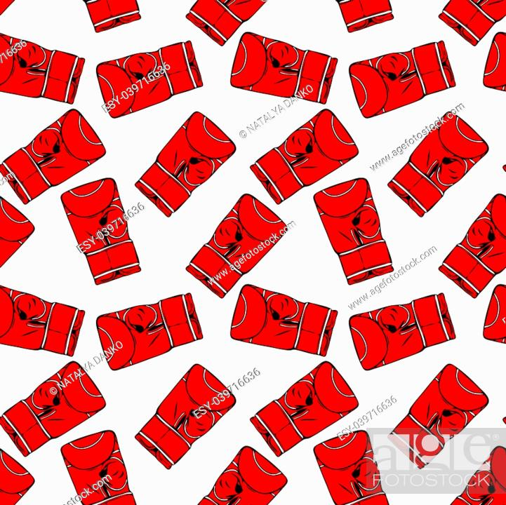 Stock Vector: red boxing gloves drawn by hand, seamless repeating pattern isolated on white background.