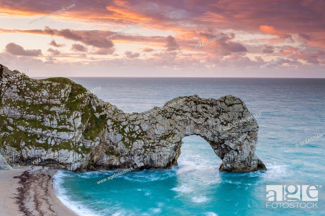 Stock Photo: Durdle Door, Jurrasic Coast, Dorset, England, United Kingdom, Europe.