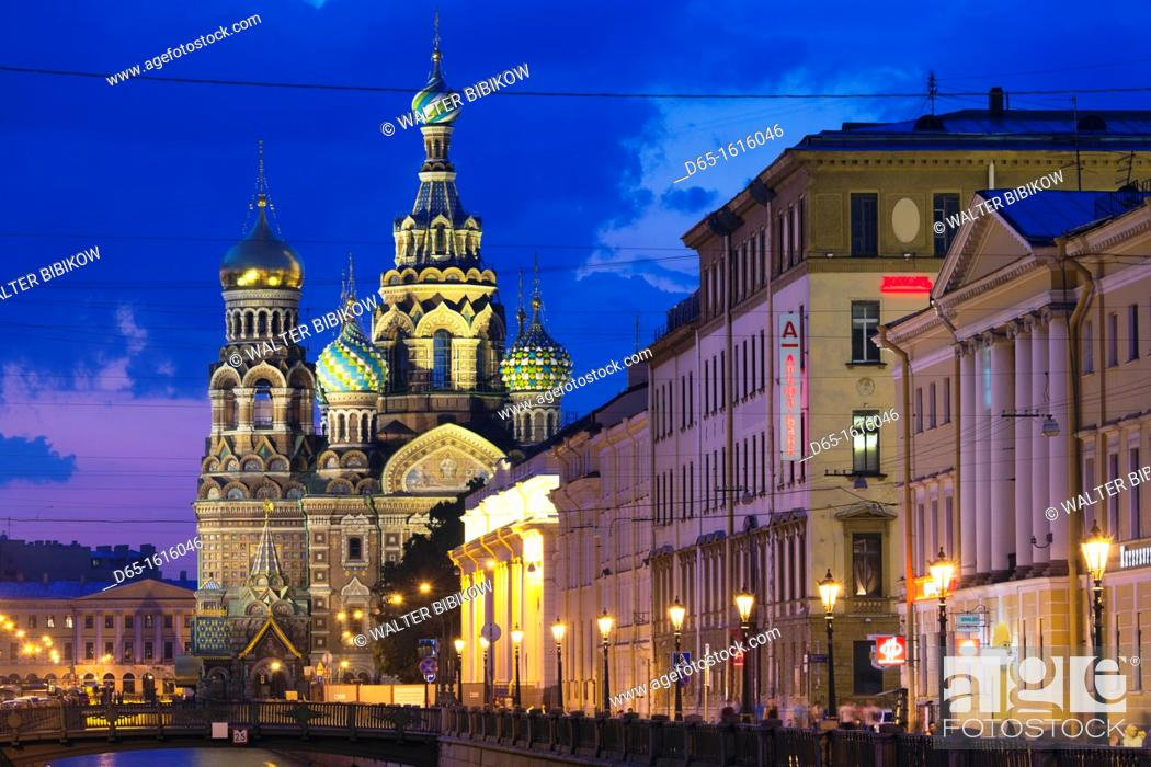 Stock Photo: Russia, Saint Petersburg, Center, Church of the Saviour of Spilled Blood on Griboedov Canal, exterior, evening.