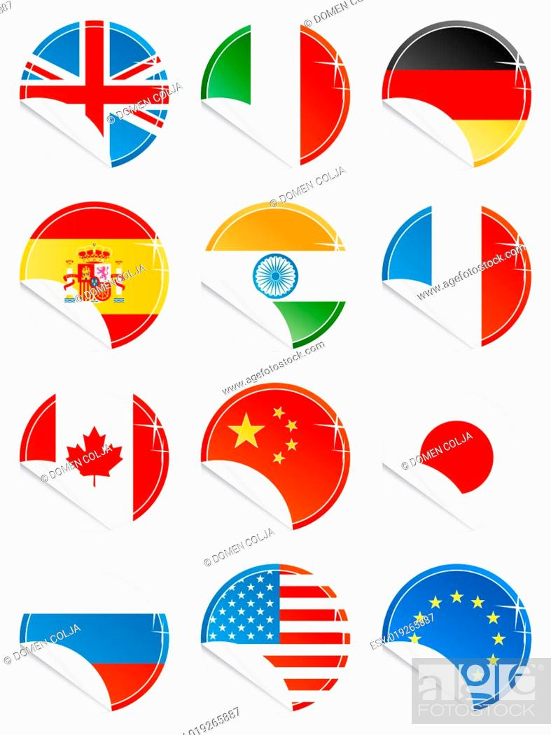 Imagen: National flag glossy icons.