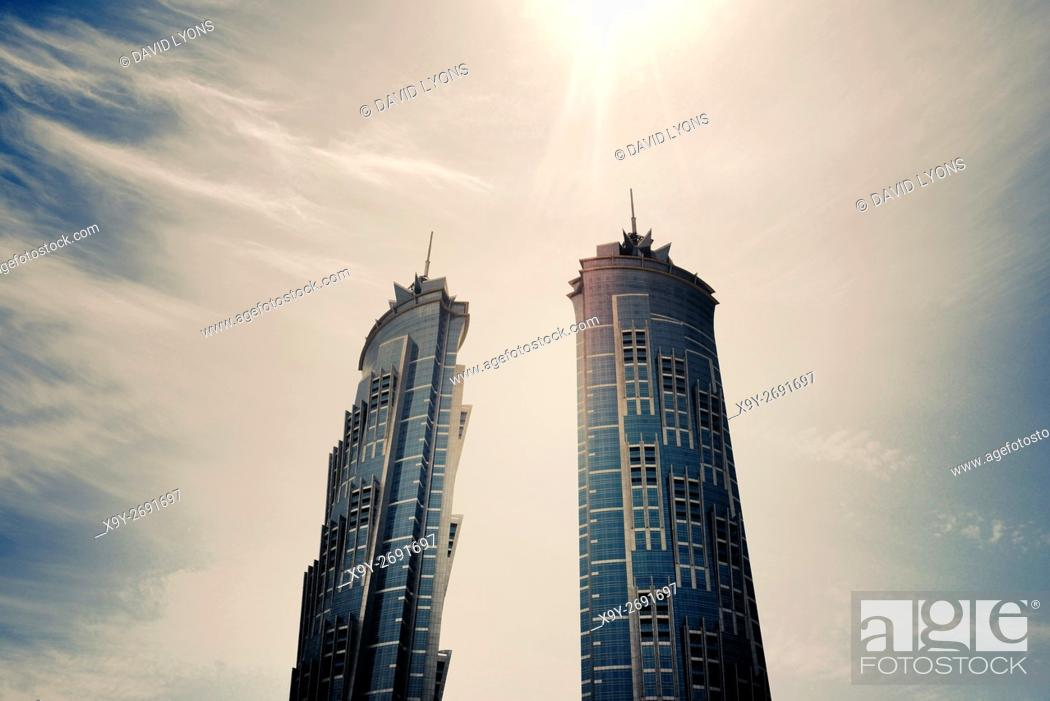Stock Photo: Twin towers of JW Marriot Marquis Dubai Hotel aka Emirates Park Towers. Dubai, UAE. World's tallest hotel 76 story 355 meters.
