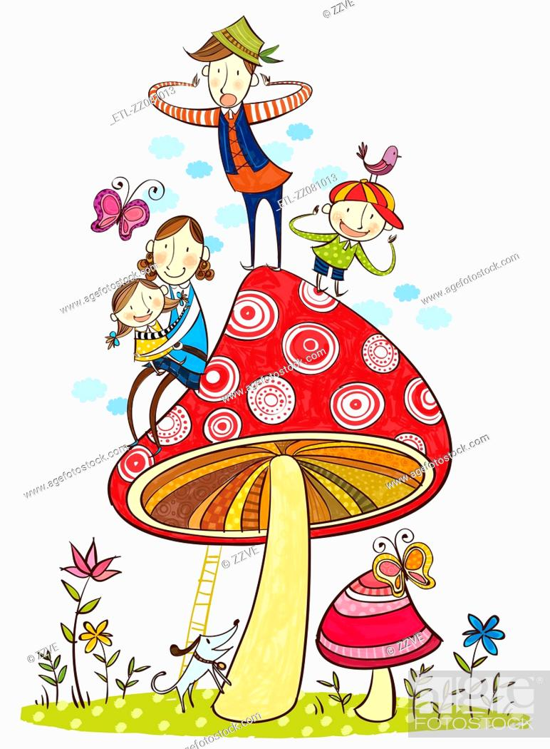 Stock Photo: portrait of happy family over the large mushroom.