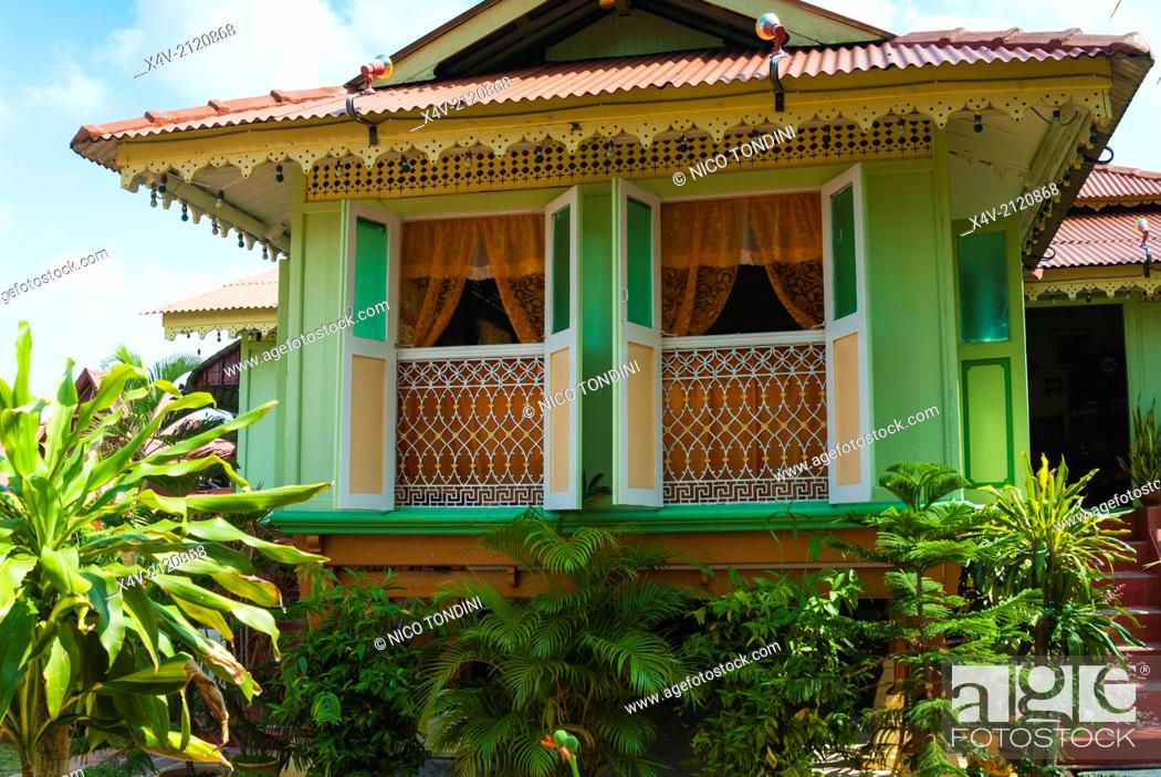 Stock Photo: Villa Sentosa (Malay Museum), typical Malay house, Melaka (Malacca), Melaka State, Malaysia, Southeast Asia, Asia.