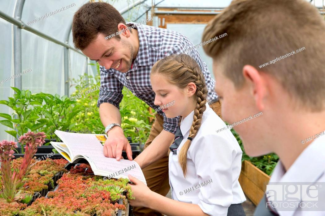 Stock Photo: Teacher and middle school students with book learning gardening in plant greenhouse.