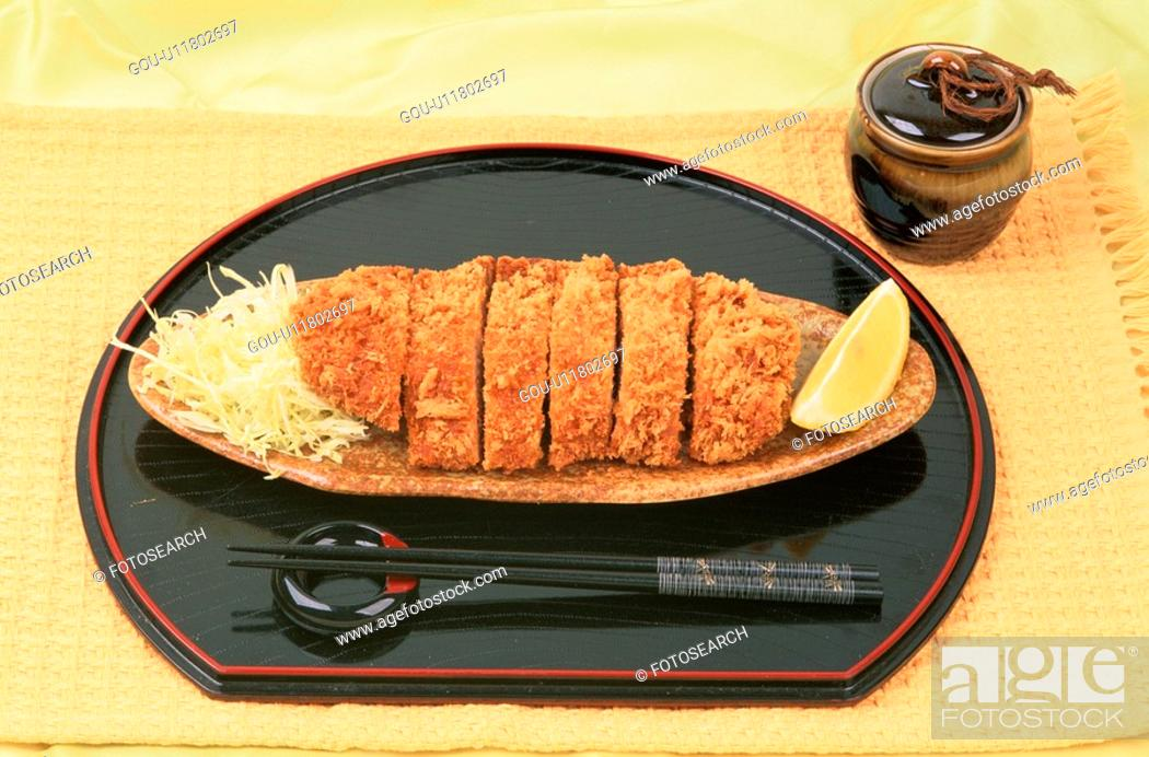 Stock Photo: Sliced Pork And Chopsticks.