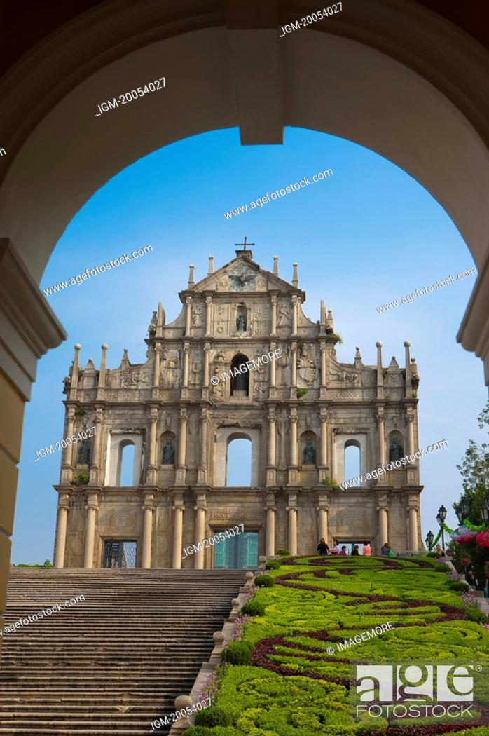 Stock Photo: China, Macou, Ruins of Saint Paul's, Company Of Jesus Square, UNESCO, World Cultural Heritage.