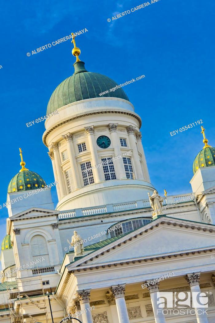Stock Photo: Helsinki Lutheran Cathedral, Senate Square, Helnsinki, Finland, Europe.