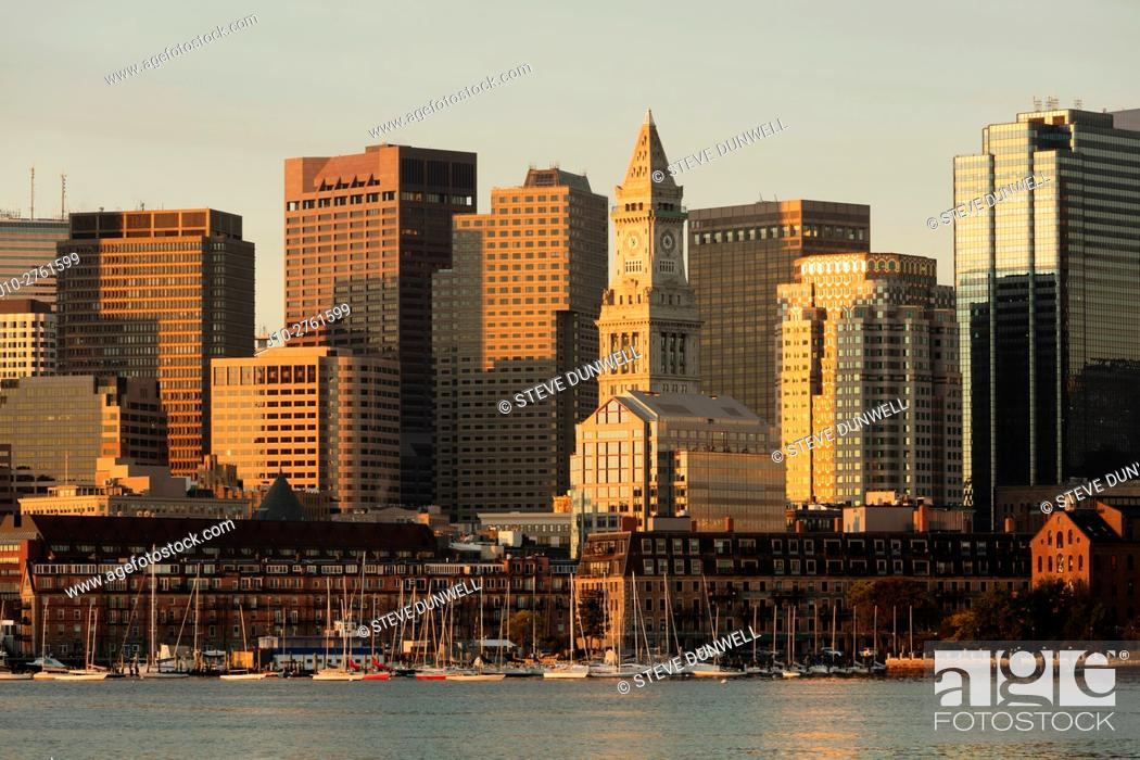 Stock Photo: Skyline sunrise from East Boston, Boston, Massachusetts, USA.