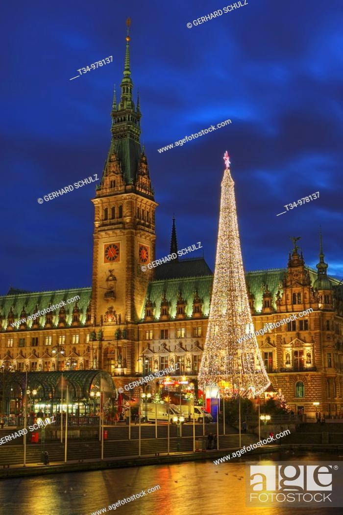 Stock Photo: Hamburg Town Hall and Christmas Market, Germany.