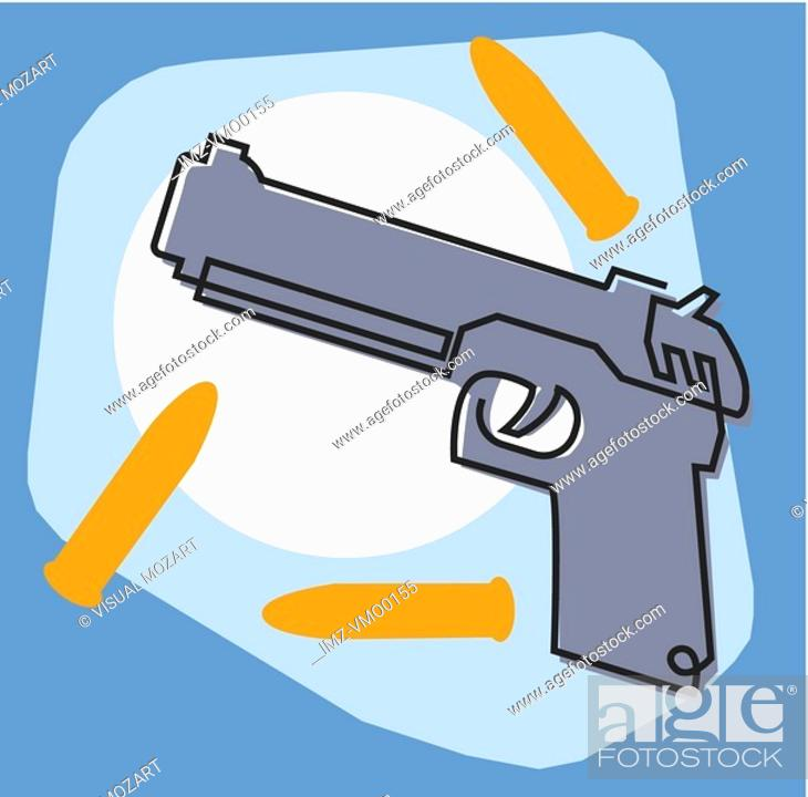 Stock Photo: Gun and bullets.