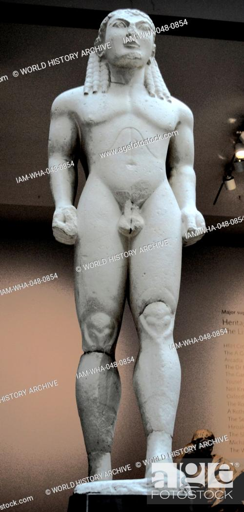 Stock Photo - Early Greek kouros (youth) ... . Delphi, Greece, about 570 BC  The muscled naked figure stands in the schematic 'walking' pose which the  early ...