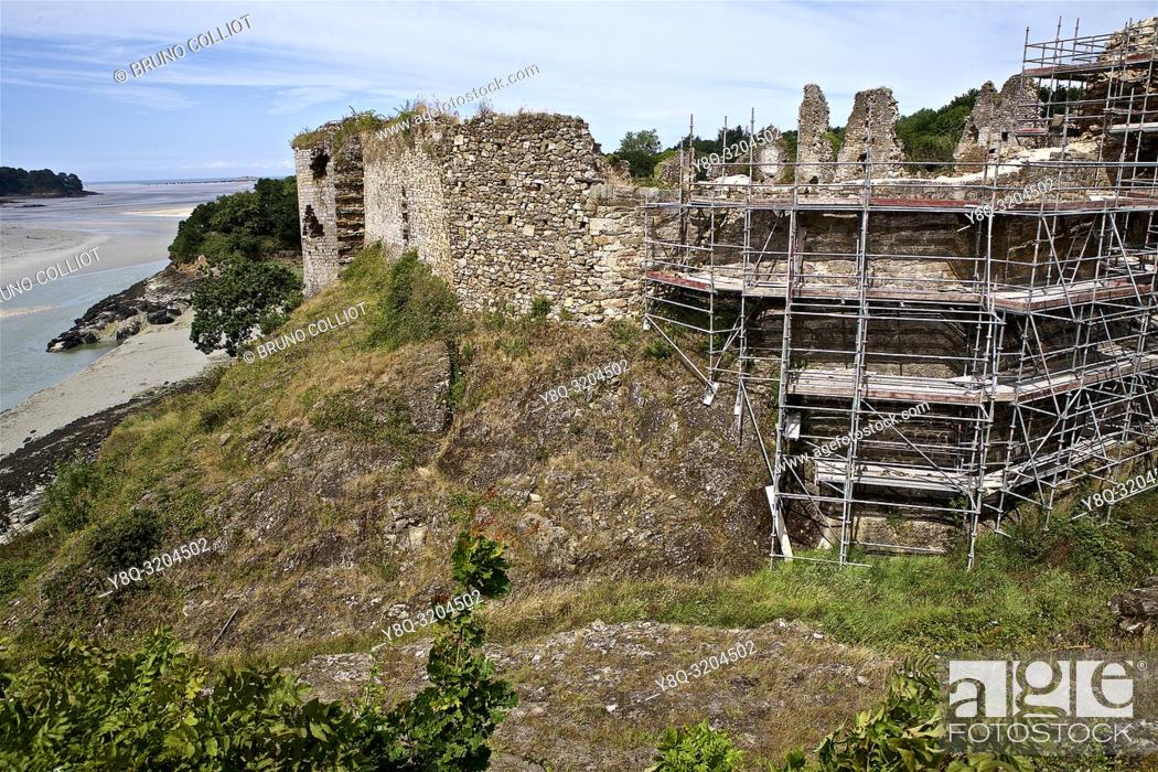 Stock Photo: restoration of the ruins of the castle of Gilles de Bretagne, the Guildo, cote d'armor, brittany, france.