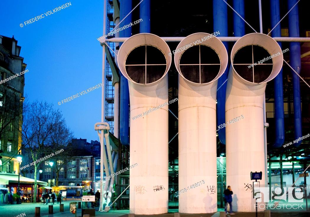 Stock Photo: Center Pompidou, Beaubourg, Museum Contemporary Art Museum, night, France, Paris.